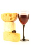 Raisins, fromage et une glace Photos libres de droits