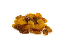 Raisins isolated over white. Light brown raisins isolated over white Royalty Free Stock Photos