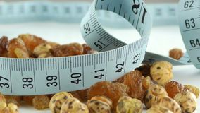 Raisins and Chichpea Macro View and Measurement. Raisins Macro and Chickpea View and Measurement video stock video footage