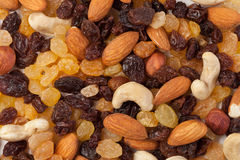 Raisins and nuts background Royalty Free Stock Images
