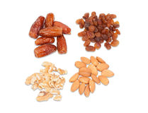 Raisins, nuts, dates and almonds Royalty Free Stock Photos