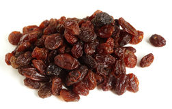 Raisins over white royalty free stock images