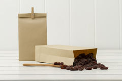 Raisins in paper bags Royalty Free Stock Image