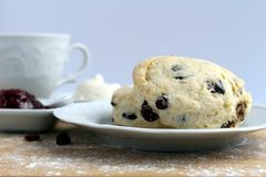 Raisins scones with raspberries jam. White cheeze and cup of tea Royalty Free Stock Image