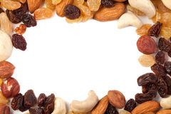 Raisins secs et cadre nuts Image stock