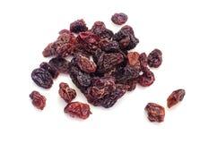 Raisins secs secs sur un fond blanc Photos libres de droits