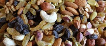 Raisin and Mixed nuts. Mixed nuts and seeds and raisins Stock Photo
