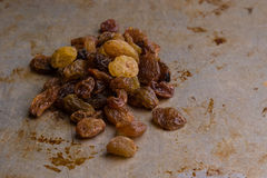 Raisins on steel plate Royalty Free Stock Photography