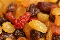 Raisins and sultanas. Colourful dried raisins and sultanas Stock Image