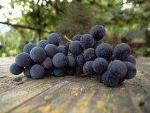 Raisins sur une table en bois Photo stock