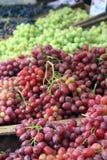Raisins verts et rouges frais à vendre photos stock