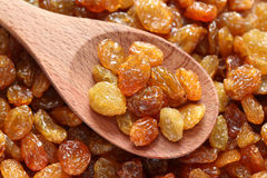 Raisins in a wooden spoon. On raisins background. Close-up Stock Images