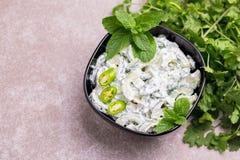 Raita indiano do pepino com iogurte, hortelã, coentro Tzatzi grego Imagem de Stock