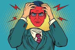 Raiva ou dor de cabeça nos homens ilustração stock