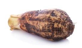 Raiz de taro doce, batatas de Satoimo ou cortado do Yautia Lila do taro imagem de stock royalty free
