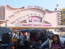 Raj Mandir Cinema en Jaipur, la India Fotos de archivo libres de regalías