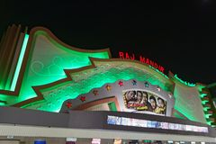 Raj Mandir Cinema by night Royalty Free Stock Image