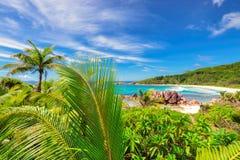 Raj plaża Seychelles - Uroczysty Anse Zdjęcia Royalty Free