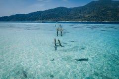 Raj wyspy kryształ - jasny morze, Błękitny, palmy, na fyre zdjęcie royalty free