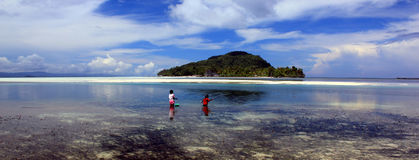Island scene, Raja Ampat Archipelago, Indonesia Stock Photos