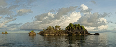 Raja Ampat Papua huge panorama landscape. Tropical Paradise Raja Ampat Papua Indonesia panorama landscape Royalty Free Stock Photography
