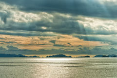 Raja Ampat Papua Indonesia huge panorama landscape. Raja Ampat Papua panorama landscape  at sunset Royalty Free Stock Photo