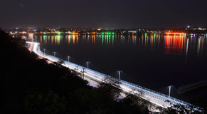 Raja Bhoj Road or VIP Road Bhopal. & Upper lake night in Bhopal Royalty Free Stock Photography