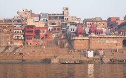 Raja Ghat. Holy river in Varanasi, Uttar Pradesh, India Royalty Free Stock Image