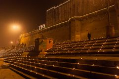 Raja Ghat in Varanasi at night Royalty Free Stock Photos