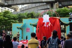 Rajadamri in Bangkok, Thailand: 29 januari, het Chinese Nieuwjaar van 2017, toont van China Royalty-vrije Stock Fotografie