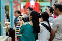 Rajadamri in Bangkok, Thailand: 29 januari, het Chinese Nieuwjaar van 2017, toont van China Royalty-vrije Stock Foto