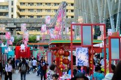 Rajadamri em Banguecoque, Tailândia: Ano novo chinês do 29 de janeiro de 2017, mostras de China Foto de Stock