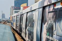 Rajadamri i Bangkok, Thailand: Januari 29, 2017 tunnelbanastationen BTS arkivbilder