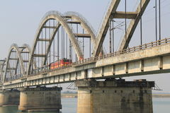 Rajahmundry railway bridge. With train very closer Stock Photo