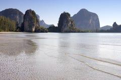 Rajamangala beach 2. Limestone outcrops on Rajamangala beach, Trang Provinve, Thailand Royalty Free Stock Images