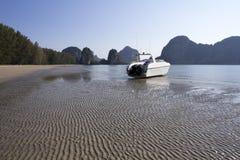 Rajamangala beach 5. Speedboat on the sand at Rajamangala beach, Trang Province, Thailand Royalty Free Stock Photos