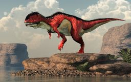 Rajasaurus by an Arid Lake. A red and white Rajasaurus with black stripes stands by an arid lake. Rajasaurus was an abelisaurid theropod dinosaur of the Late stock illustration