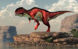 Rajasaurus por un lago árido stock de ilustración