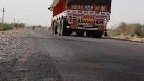 Desert Truck Passing Through Camera stock video