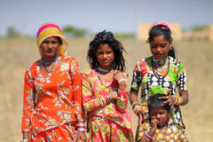 Rajasthan girls. Four young pour girls at the village in Nagaur district Royalty Free Stock Image