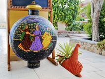 Rajasthan India artful vase garden ornament Royalty Free Stock Photos