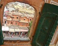 Rajasthan (Jaipur city) through the window royalty free stock photo