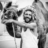 Rajasthan man med hans kamel Arkivbild