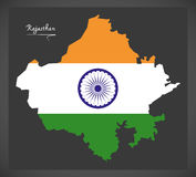 Rajasthan map with Indian national flag illustration Royalty Free Stock Photo