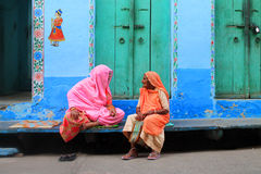 Rajasthan old women. Two indian old women talking on the street in Jodhpur Stock Images