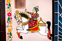 Rajasthan painting on Haveli Royalty Free Stock Photography
