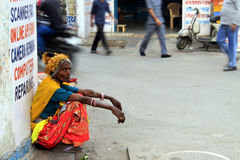 Rajasthan tribal street woman. Traditional rajasthan woman in the Udaipur street Stock Images