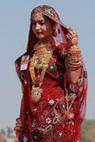 Rajasthani妇女参加女士 Moomal比赛 库存照片
