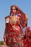 Rajasthani妇女参加女士 Moomal比赛 免版税图库摄影