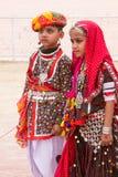 Rajasthani男孩和女孩 免版税库存照片